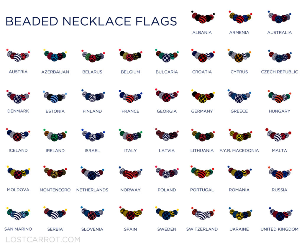 Eurovision 2017 Flag Beads